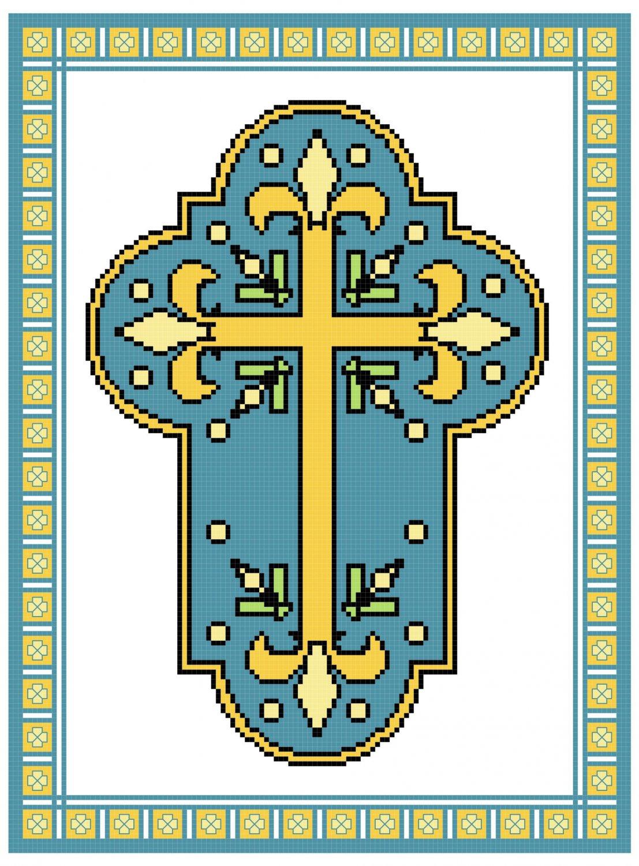 Fleur de Lis French Cross Pattern Chart Graph