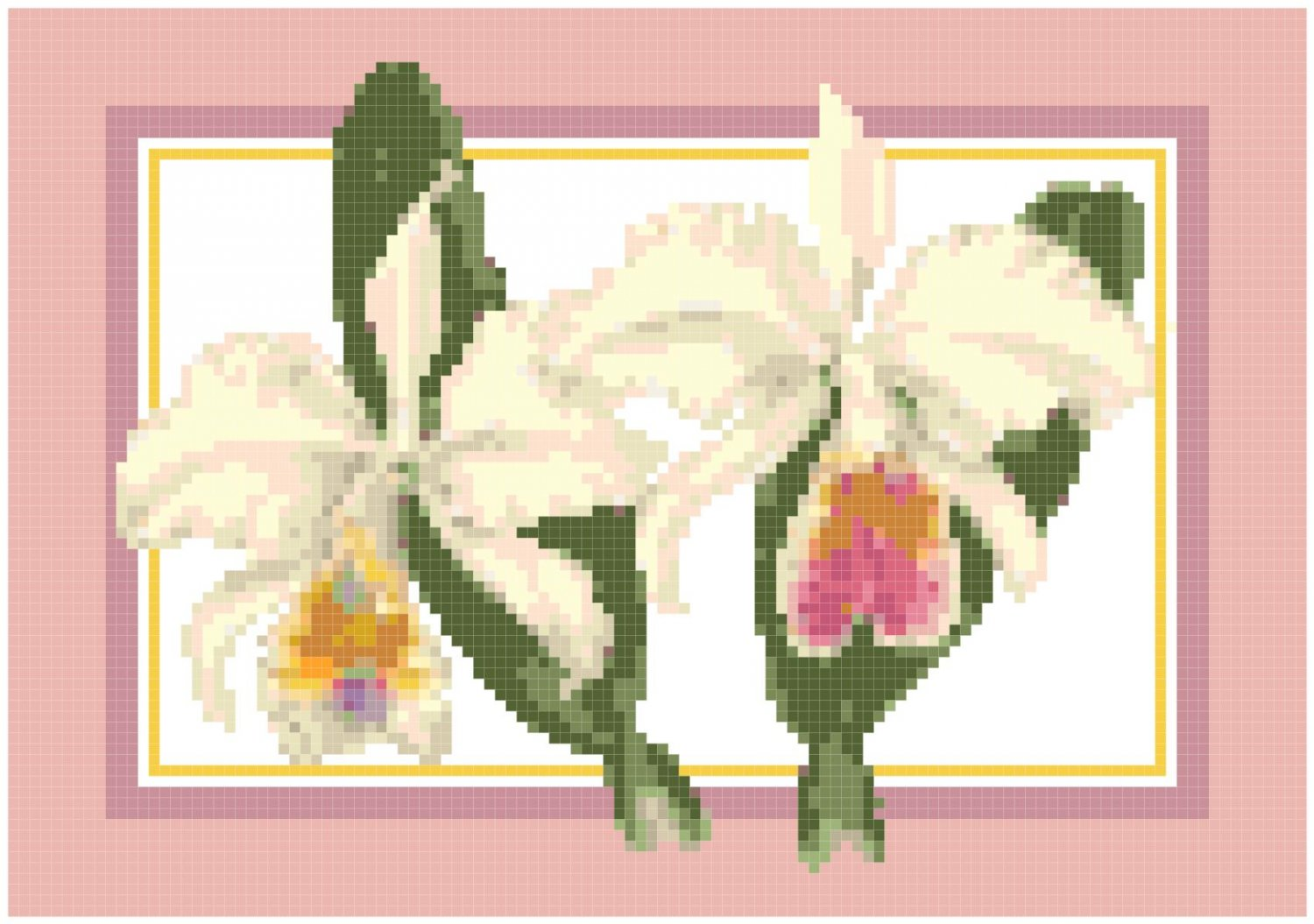 White Corsage Orchids Pattern Chart Graph