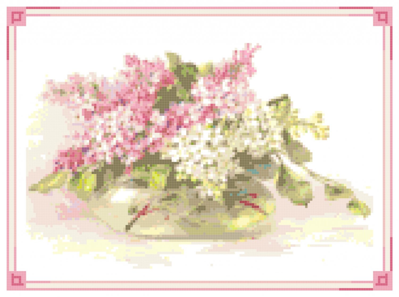 Pink and White Lilac Bowl Pattern Chart Graph