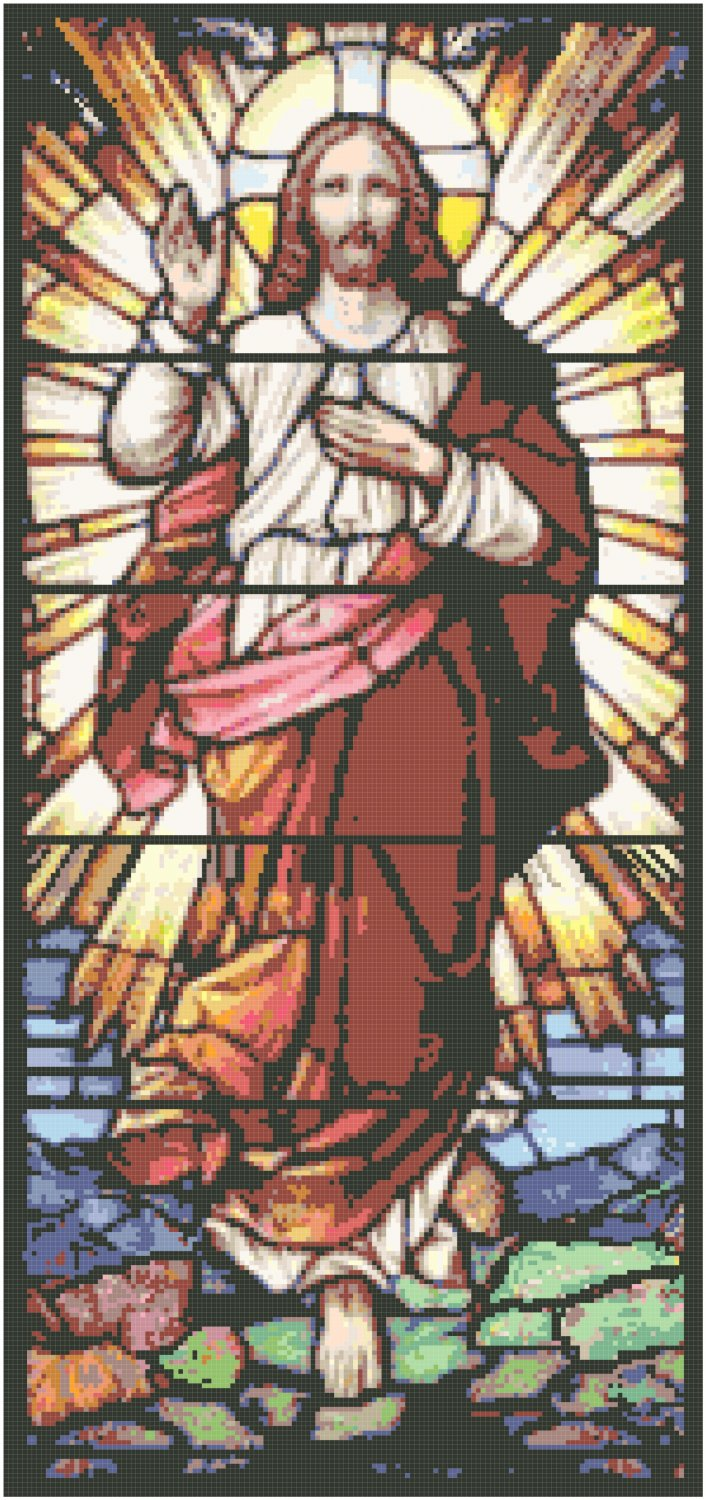 Ascension in Stained Glass Pattern Chart Graph