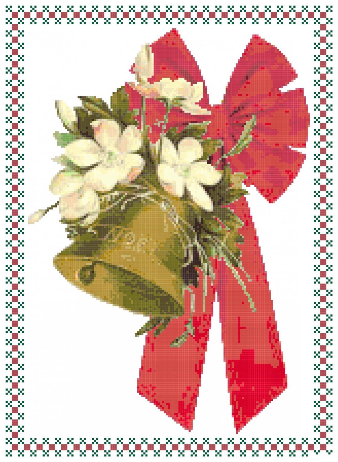 Christmas Bell and Bow Pattern Chart Graph