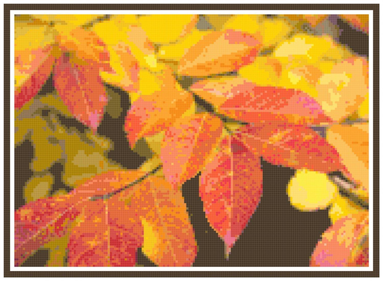 Autumn Leaves Still Live Pattern Chart Graph