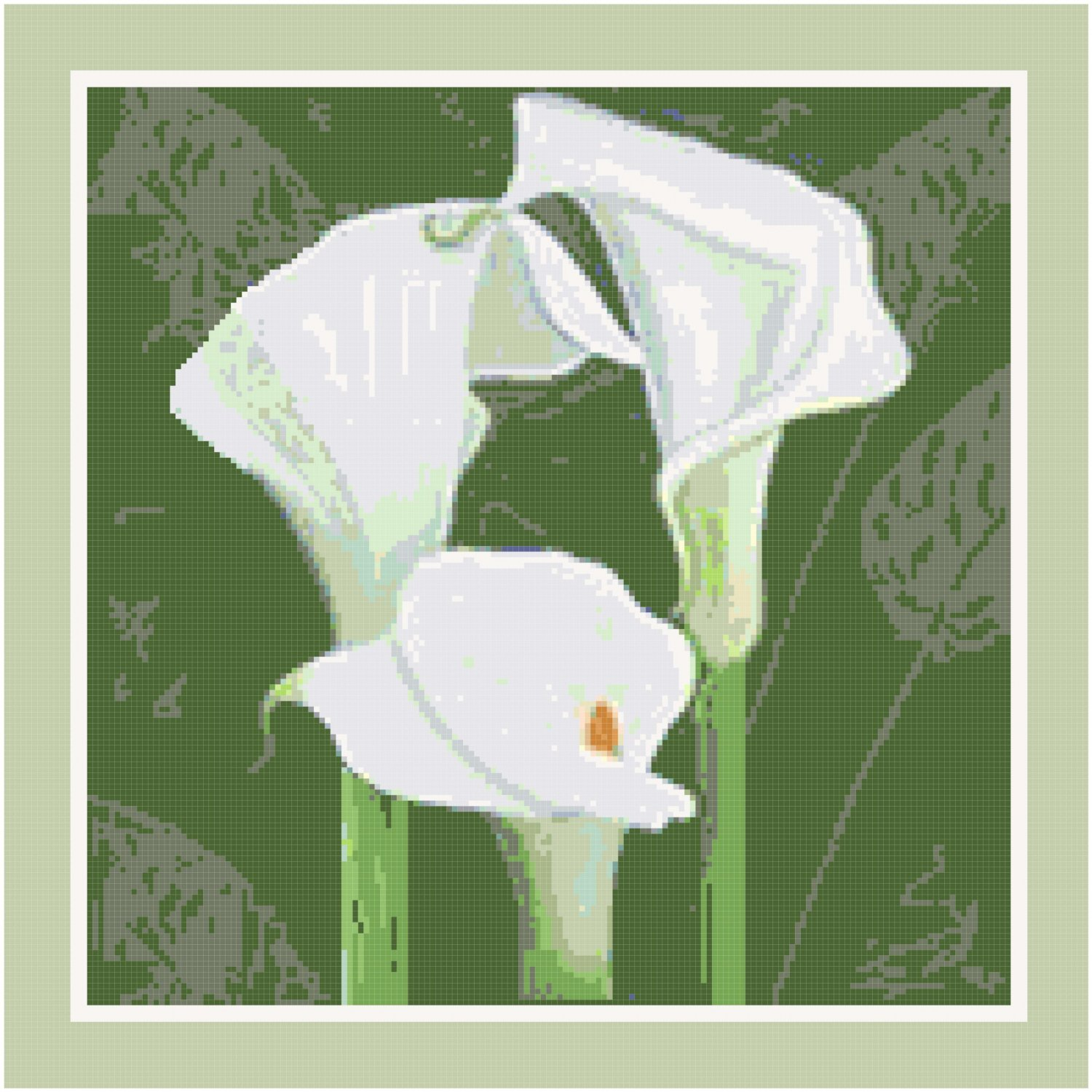 Calla Lilies Pillow Pattern Chart Graph