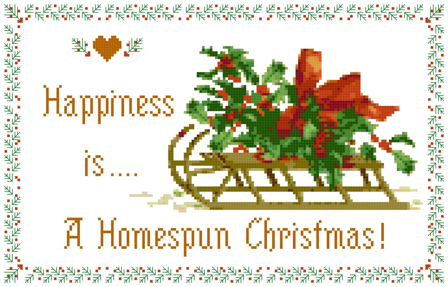 Christmas Hollyberry Sled Pattern Chart Graph