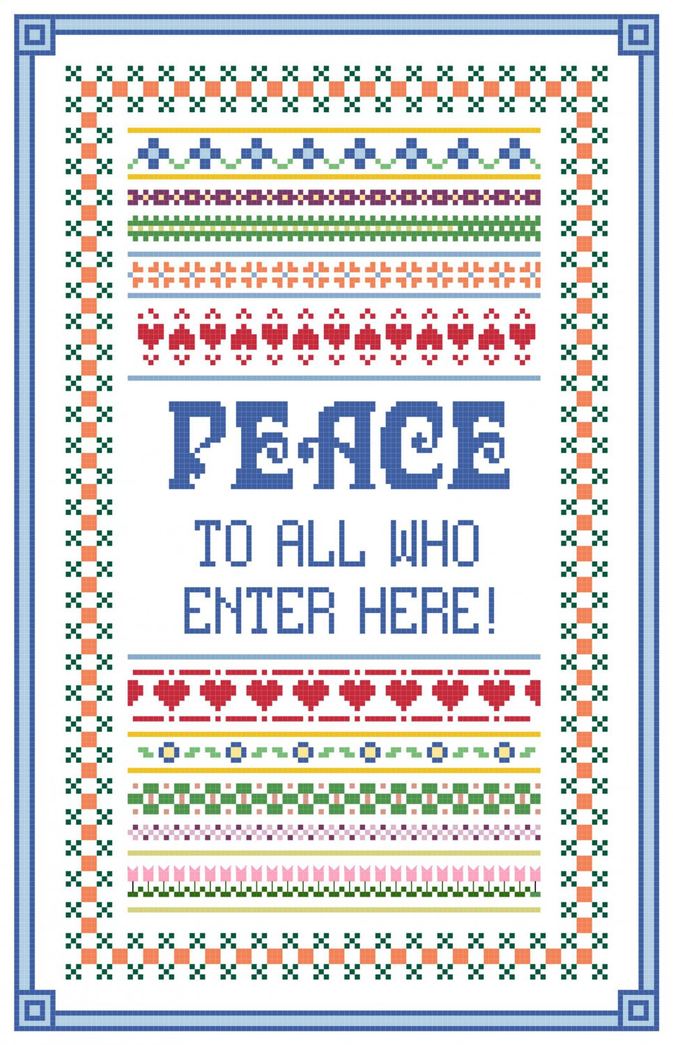 Peace To All Who Enter Here Pattern Chart Graph