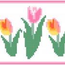 Pink Tulip Border Pattern Chart Graph