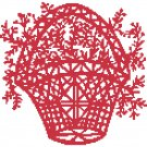 Flower Basket - redwork Pattern Chart Graph