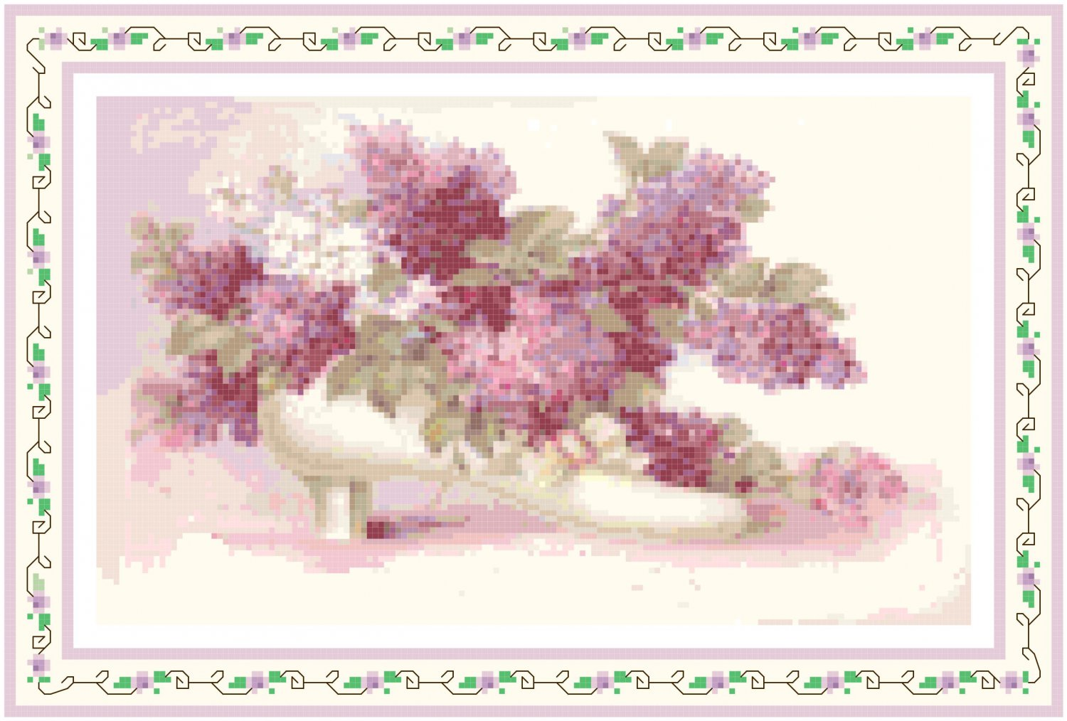 Lilacs in a Victorian Shoe Pattern Chart Graph