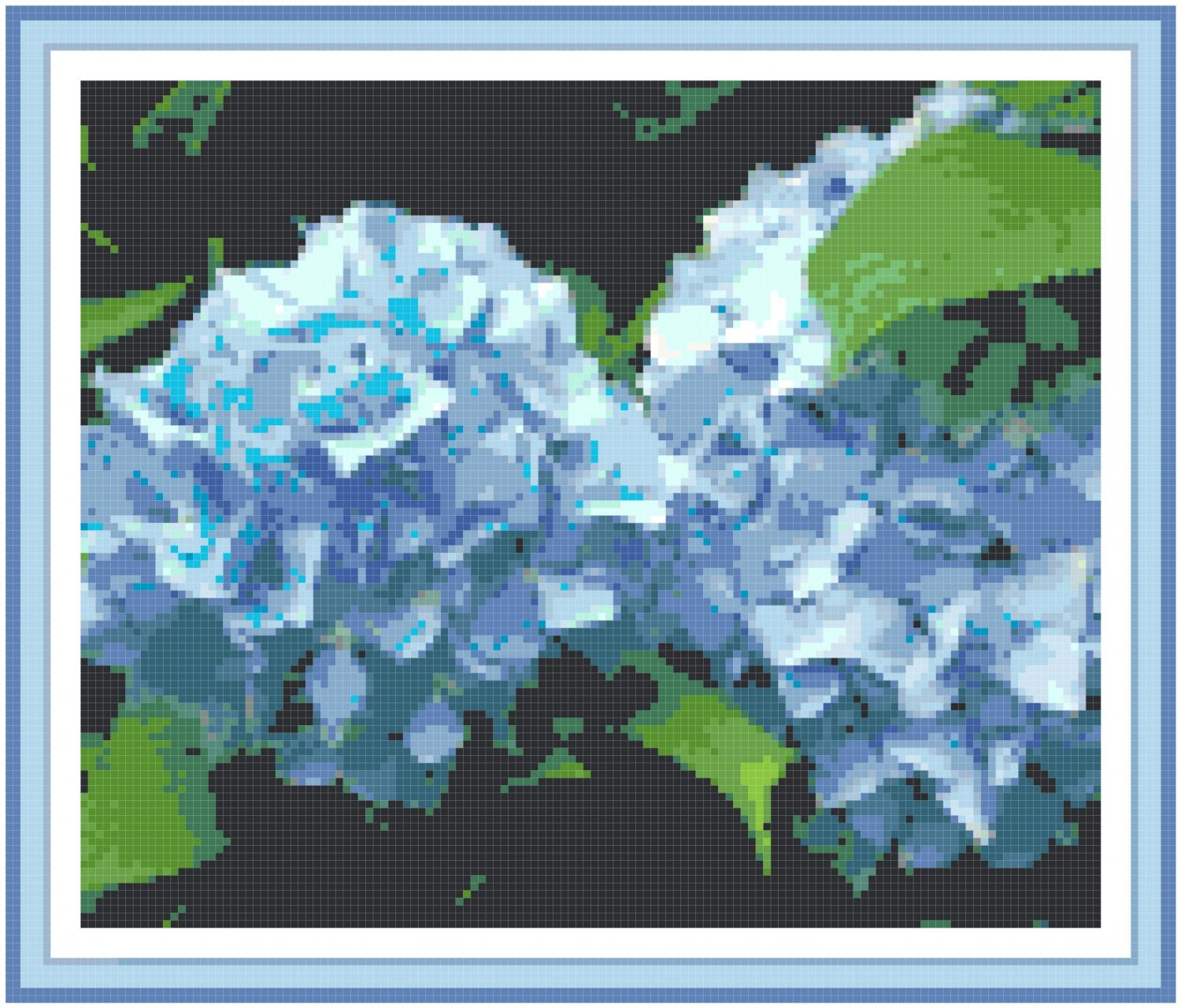 Sky Blue Hydrangeas Pattern Chart Graph
