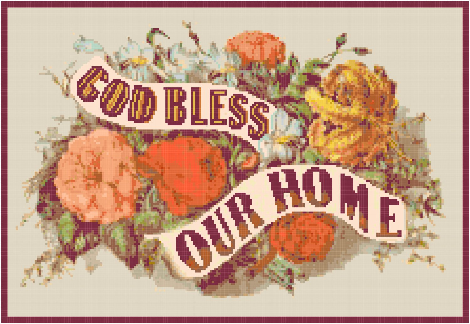 God Bless Our Home Pattern Chart Graph
