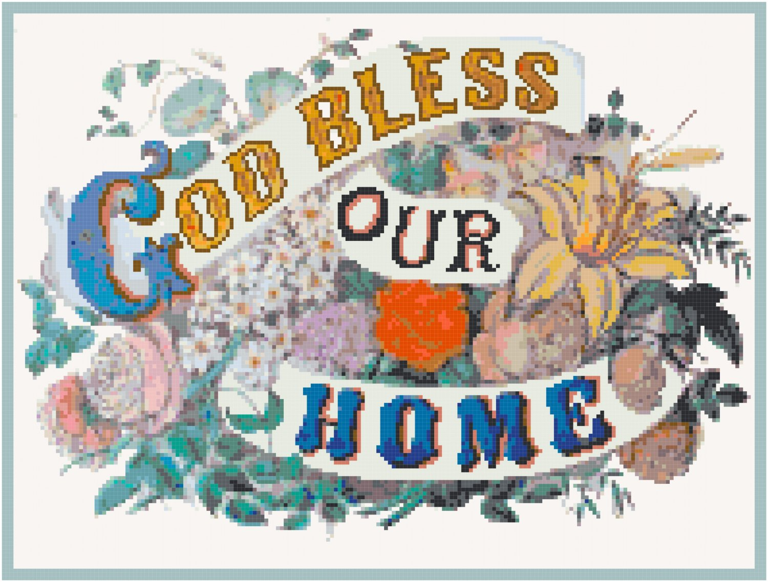 God Bless Our Home 2 Pattern Chart Graph