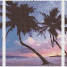 Beach Sunset Seascape Triptych Pattern Chart Graph