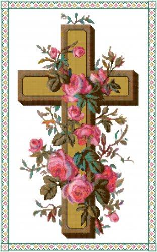 Cross of Roses Cross Stitch Pattern Chart Graph