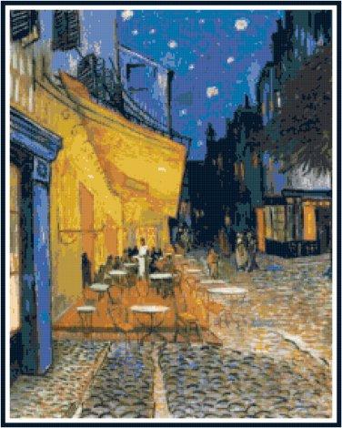 Van Gogh's Cafe Terrace Cross Stitch Pattern Chart Graph