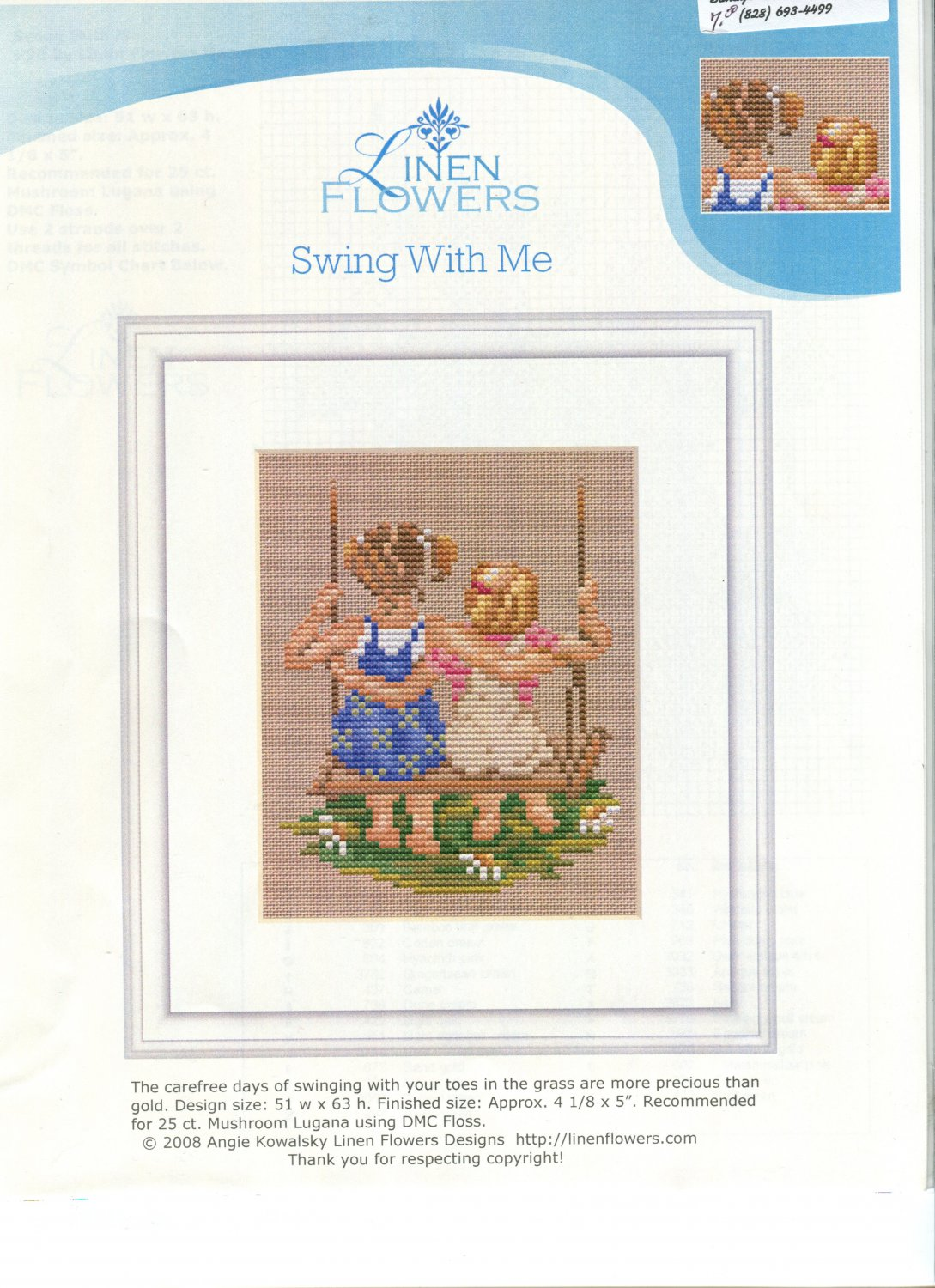 Swing With Me Cross Stitch Leaflet