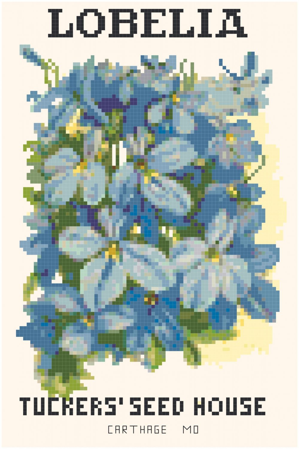 Lobelia Flower Seed Packet Pattern Chart Graph