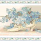 Forget-Me-Nots in a Victorian Shoe Pattern Chart Graph