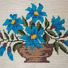 """BLUE DAISIES IN A VASE"" Completed Finished Needlepoint"