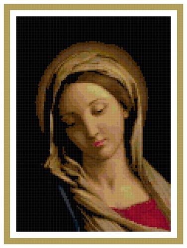 The Madonna by Sassoferrato Cross Stitch Pattern Chart Graph