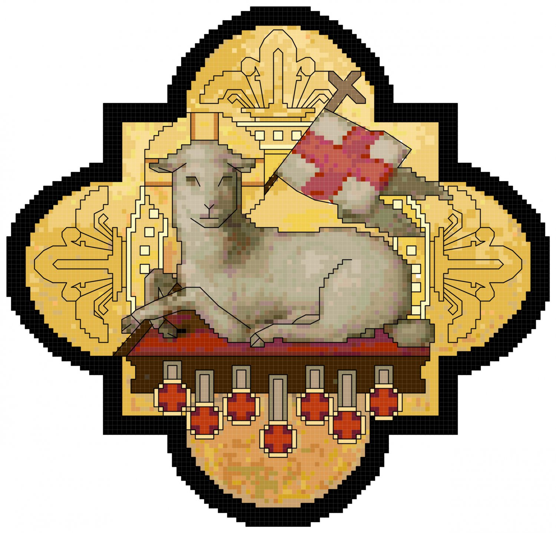 lamb of victory and seven seals cross stitch pattern chart