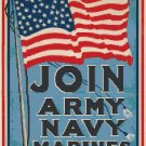Join- Army, Navy, Marines WWI Poster Pattern Chart Graph