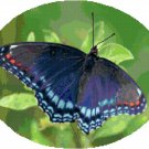 Red Spotted Purple Butterfly Cross Stitch Pattern Chart Graph