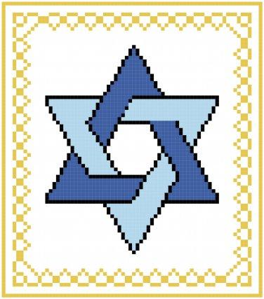 Star of David Cross Stitch Pattern Chart Graph