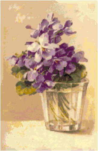 Violets in a Glass Cross Stitch Pattern Chart Graph