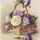Chrysanthemums in a Basket Cross Stitch Pattern Chart Graph