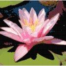 Blushing Pink Waterlily Cross Stitch Pattern Chart Graph