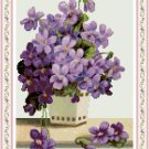 Vase of Violets Cross Stitch Pattern Chart Graph