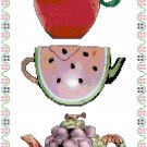 Fruity Teapots Cross Stitch Pattern Chart Graph