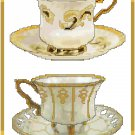 Elegant French Teacups Cross Stitch Pattern Chart Graph