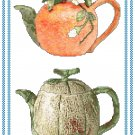 Fruity Teapots 2 Cross Stitch Pattern Chart Graph