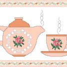 Tea Is Waiting Cross Stitch Pattern Chart Graph