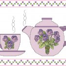 Violets Teapot and Cup Cross Stitch Pattern Chart Graph