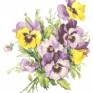 Pansies Bouquet Cross Stitch Pattern Chart Graph