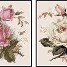 Beautiful Pink and White Roses Set Cross Stitch Pattern Chart Set