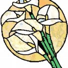 Calla Lilies in Stained Glass Cross Stitch Pattern Chart Graph