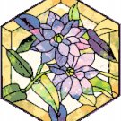 Clematis in Stained Glass Cross Stitch Pattern Chart Graph