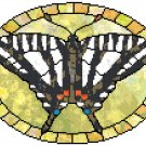 Zebra Swallowtail Butterfly in Stained Glass Cross Stitch Pattern Chart Graph