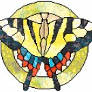 Tiger Swallowtail Butterfly in Stained Glass Cross Stitch Pattern Chart Graph