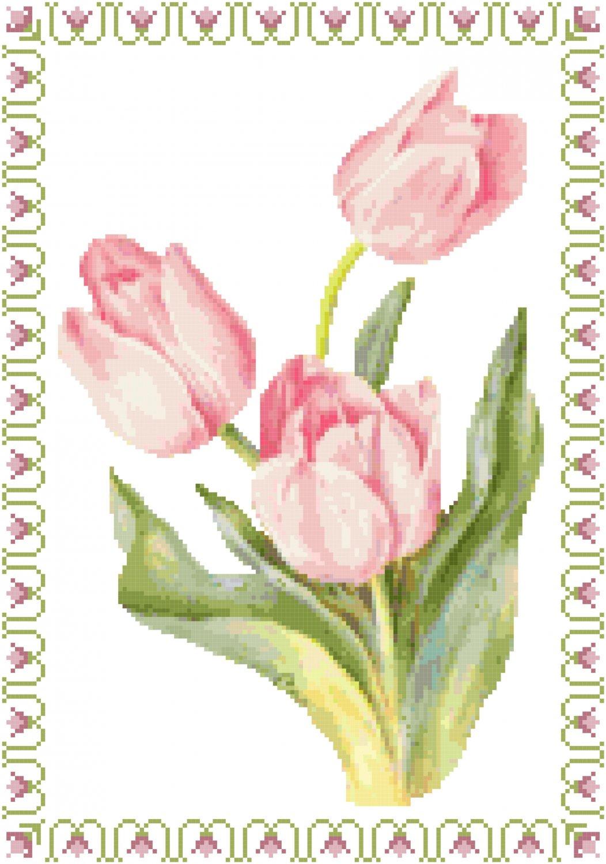 Tulip Time Cross Stitch Pattern Chart Graph