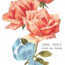 Tussie Mussie Coral Roses Cross Stitch Pattern Chart Graph