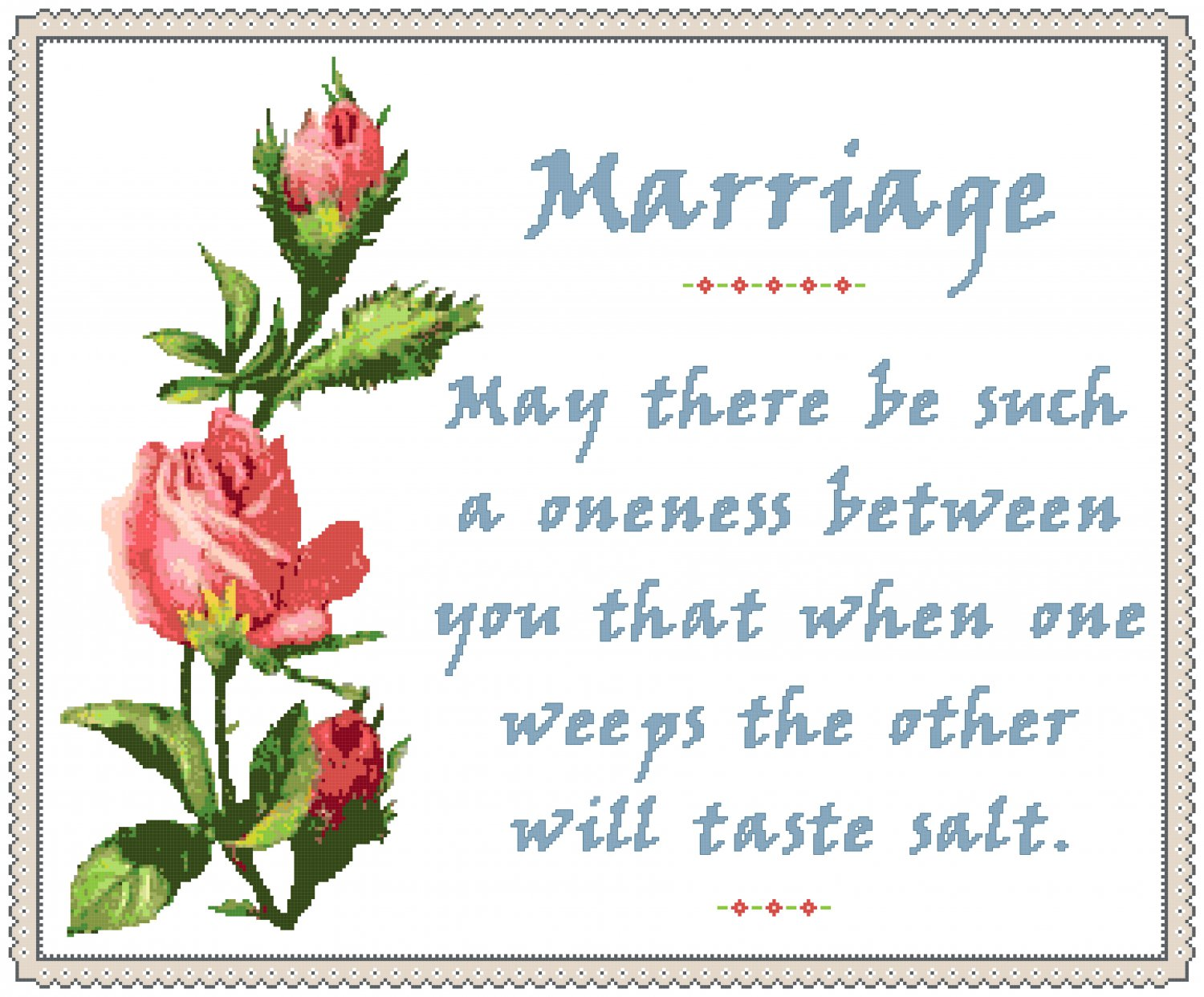 A Marriage Sampler Cross Stitch Pattern Chart Graph