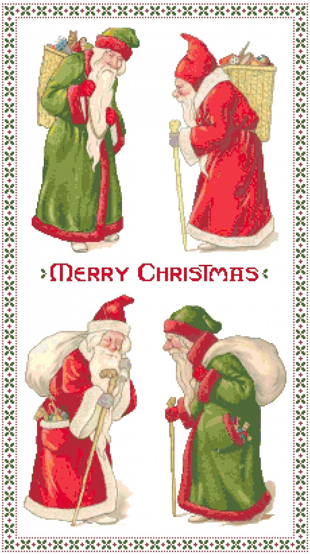 Vintage Santas Collage Cross Stitch Pattern Chart Graph