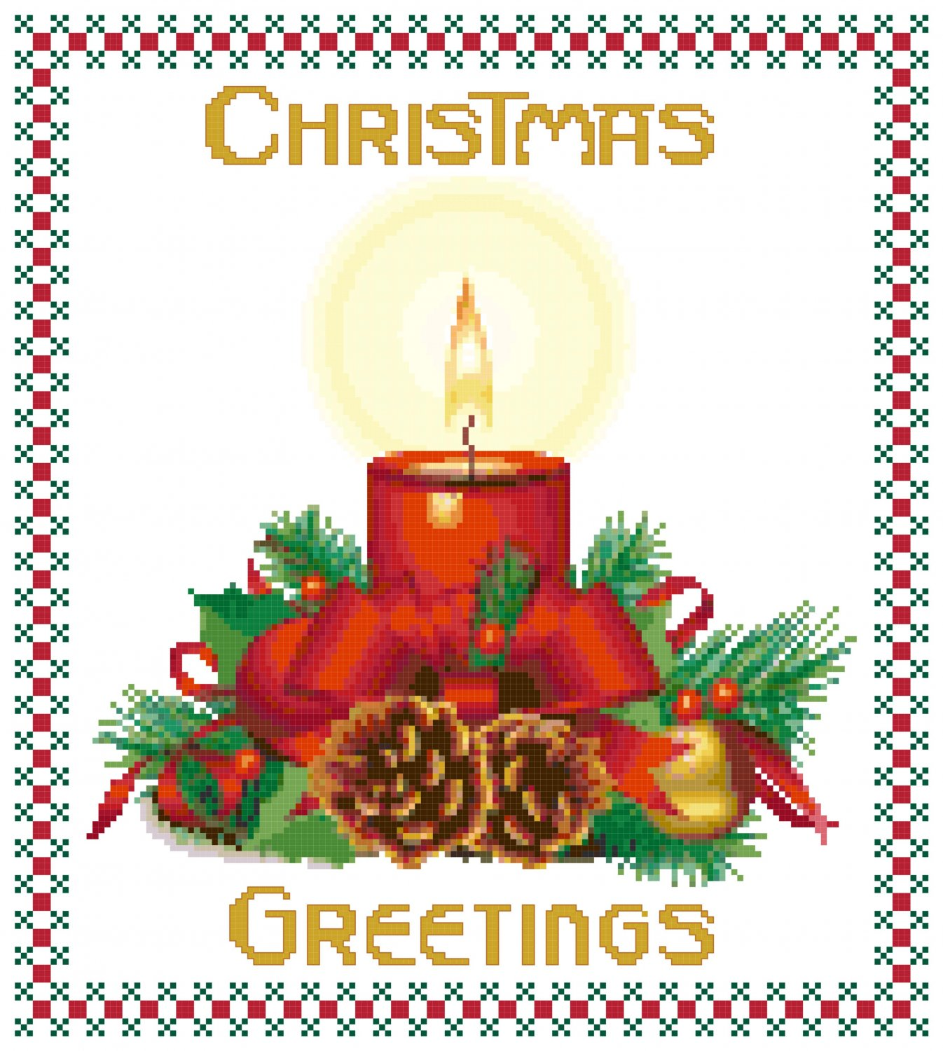 Christmas Greetings Cross Stitch Pattern Chart Graph