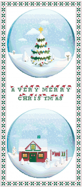 Christmas Snow Globes Cross Stitch Pattern Chart Graph