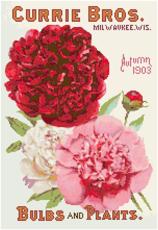 Vintage Seed Catalog 1903 Magazine Cover Cross Stitch Pattern Chart Graph