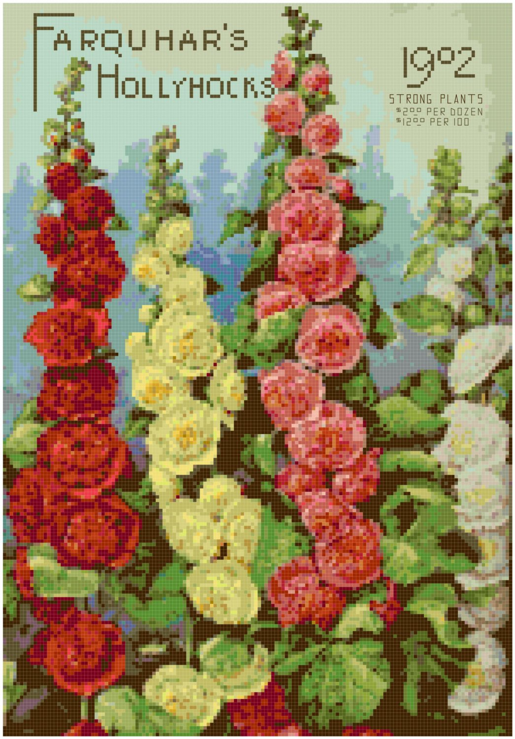 Antique Seed Catalog 1902 Magazine Cover Cross Stitch Pattern Chart Graph